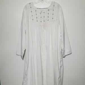 Erika Taylor 2X Cotton Nightgown Button down Vtg